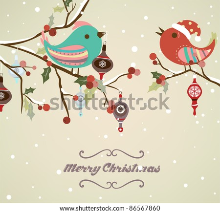 template of christmas card for xmas design with birds - stock vector