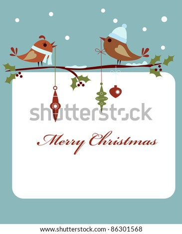 template of christmas card with birds - stock vector