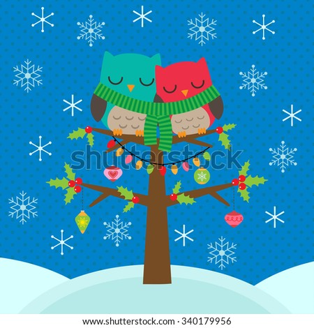 Template of Christmas card with couple of owls - stock vector