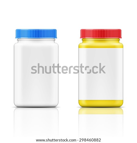 Template of colored square plastic bottle with screw cap for medicine, pills, tabs. Packaging collection. Vector illustration.