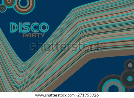 Template of disco party flyer with curved stripes and circles on a dark blue background. Graphic vector layout - stock vector