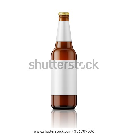 Template of empty brown glass beer bottle with blank labels on white background. Vector illustration. Packaging collection. - stock vector