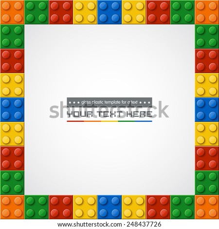 Template of gloss symmetric plastic parts for text. 5 colors. Enjoy! - stock vector
