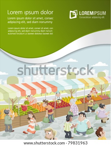 Template of market place on a street with food and vegetables stands - stock vector