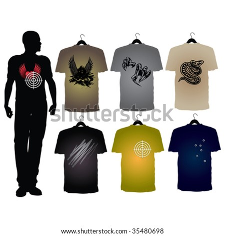 Template of Men's t-shirts with different signs - stock vector