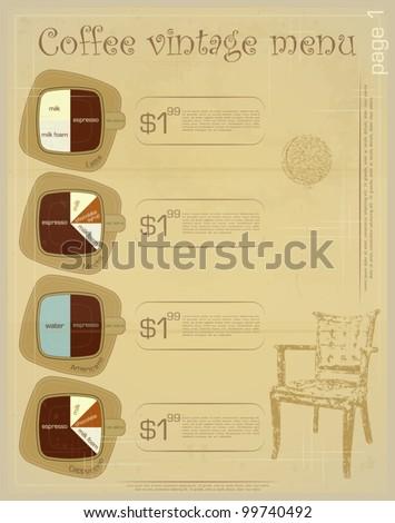 Template of menu for coffee drinks - latte, mocha, americano, cappuccino - vintage vector illustration - stock vector