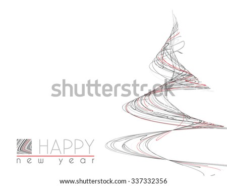 Template of minimal Happy New Year card with unusual Christmas tree of thin black, gray and red strips. Simple vector graphic layout - stock vector