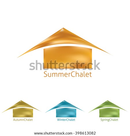 Template of simple logo with abstract chalet. Vector graphic logotype for real estate company. CMYK colors - stock vector