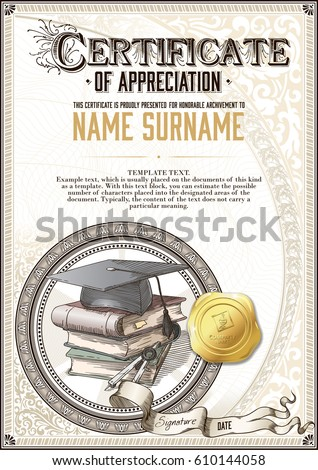 Template vintage certificate appreciation square academic stock template of vintage certificate of appreciation with a square academic cap a pile of books yelopaper Gallery