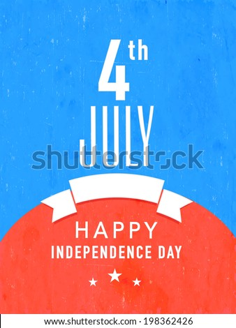 Template or flyer design in national flag colours for American Independence Day, 4th of July celebrations.  - stock vector