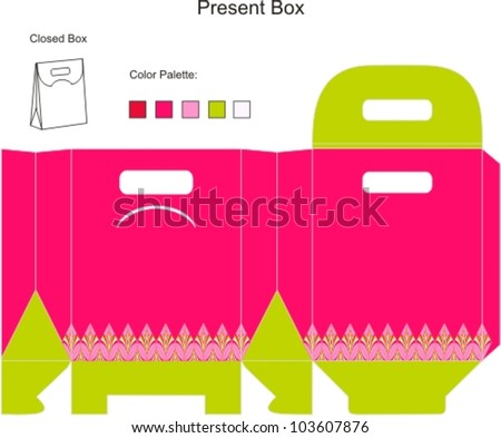 Template present box for baby girl shower - stock vector