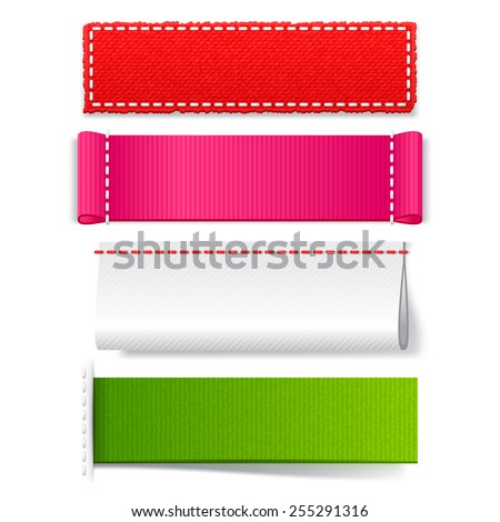 Template realistic fabric label set, bright empty vector tags for design on a white  background  - stock vector