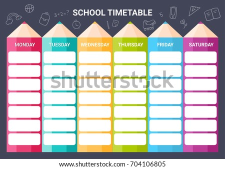 Template School Timetable Illustration Includes Hand Vector – Timetable Template School