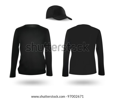 Template set: black long sleeve blank t-shirt and a cap - stock vector