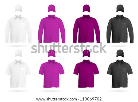 Template set: blank polo shirts and hats.
