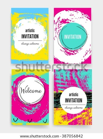 Template. Set of Trendy Posters with hand drawn Background. Modern Hipster Style for Invitation, Business Contemporary Design. Hand Drawn Elements for Placards, Flyer