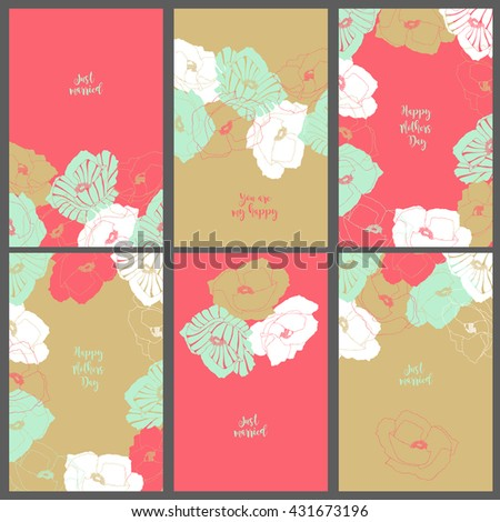 Template six invitation cards. Flowers vector illustration.