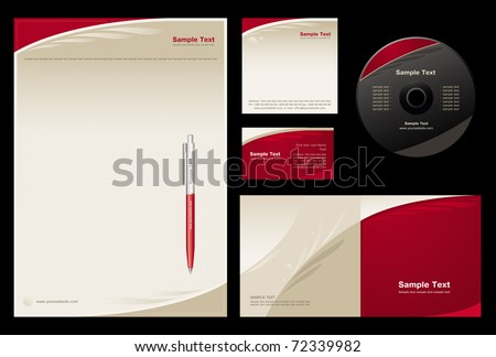 Template vector background (blank, card, cd, note-paper, cover, pen) - stock vector