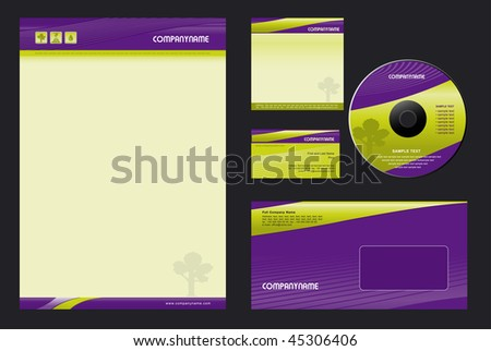 Template Vector Background  - blank, card, cd, note-paper, envelope - stock vector