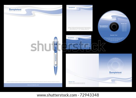 Template vector background for travel agency (blank, card, cd, note-paper, cover, pen)