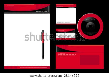 Template Vector - blank, card, pen, cd, note-paper, envelope - stock vector