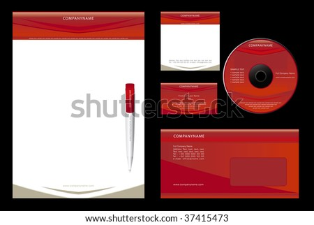 Template Vector  - blank, card, pen, cd, note-paper, envelope