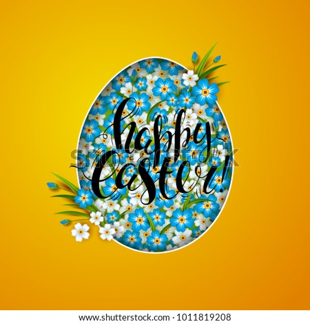template vector card flowers shaped egg stock vector 1011819208