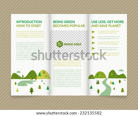Template vector ecological light design for trifold brochure with green drawn landscape and places for photos. Editable, bright. Proportionally for A4 size - stock vector