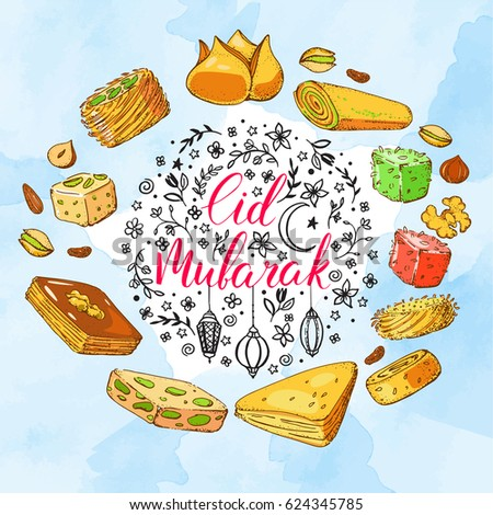 Beautiful Arabic Eid Al-Fitr Food - stock-vector-template-vector-greeting-card-with-arabic-sweets-and-handwritten-calligraphy-inscription-eid-624345785  Best Photo Reference_968479 .jpg
