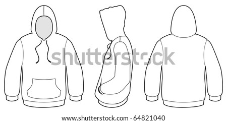 Template vector illustration of a blank hooded sweater. All objects and details are isolated. Colors and transparent background color are easy to adjust/customize. - stock vector