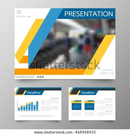 Template Vector Line Blue Set Brochure Stock Vector - Horizontal brochure template