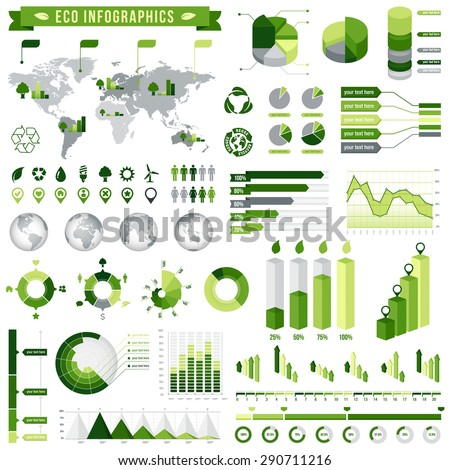 Template vector set for Green infographics environment related.  - stock vector