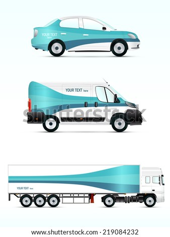 Template vehicle for advertising, branding or business. Passenger car, truck, bus. - stock vector