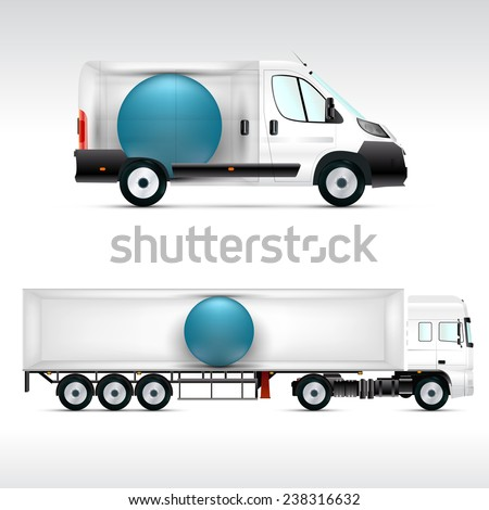 Template vehicle for advertising, branding or corporate identity. Truck, bus. - stock vector