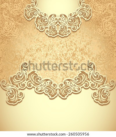 Template vintage background in gold colors for invitation or congratulation or package perfumer, cosmetic, jewelry, sweets, tea, cigarettes or for label wine, vodka - stock vector