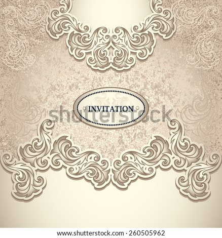 Template vintage background in pearly beige colors for invitation or congratulation or package perfumer, cosmetic, jewelry, sweets, tea, cigarettes or for label Wine, vodka - stock vector