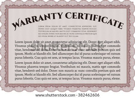 Template Warranty certificate. Border, frame. Superior design. With quality background.