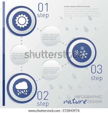Template weather infographic or website layout. infographic elements with icon and steps - stock vector