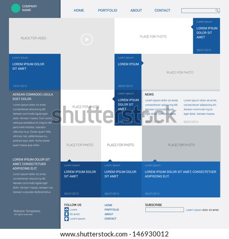 Template web site, built on the sixteen column grid, metro style. Info graphics or website layout vector, - stock vector