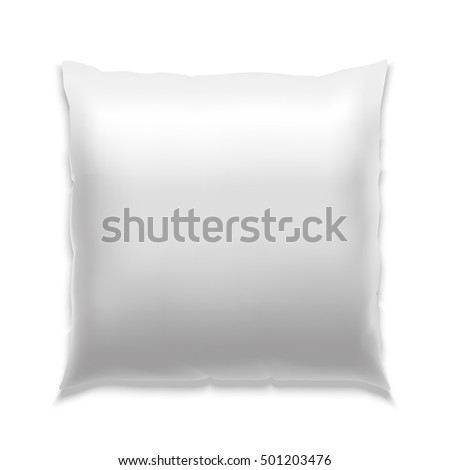 Template White Blank Realistic Square Pillow to Sleep. Empty Mock Up. Vector illustration of  soft white bolster fabric cushion blank for shop and insomnia concept.