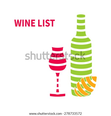 Template wine list with wine glasses,wine bottle and lemon isolated on white background - stock vector