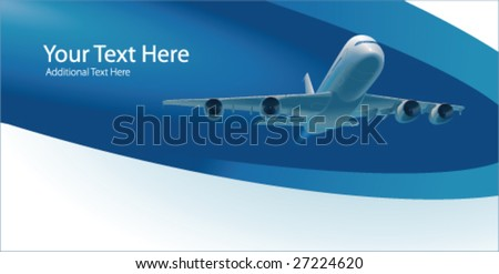 Template with airplane and copy space, vector - stock vector
