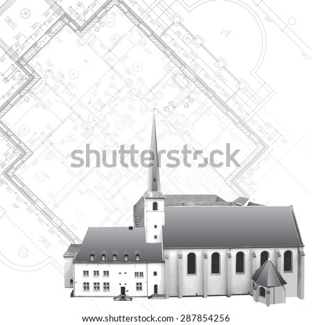 Template with architectural design elements in retro style - stock vector