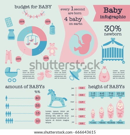 template baby infographic vector illustration stock vector 666643615 shutterstock. Black Bedroom Furniture Sets. Home Design Ideas