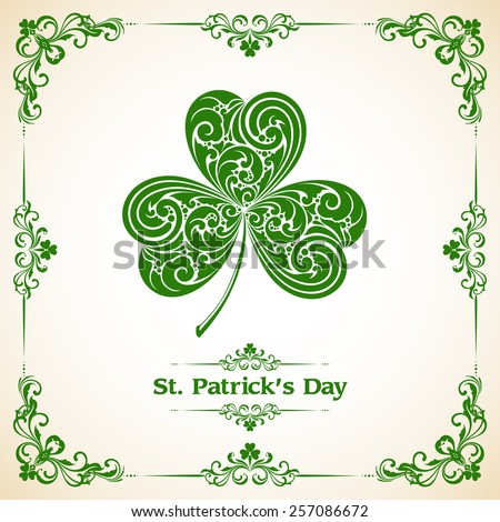 Template with frame and ornate leaf clover.St Patrick Day. Vector illustration. Design invitation, banner, greeting card - stock vector