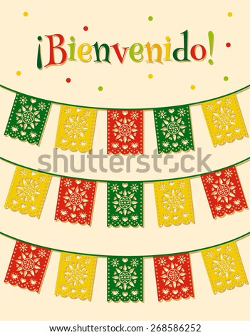 "template with hanging traditional mexican flags and spanish text ""bienvenido"" translated as ""welcome""  - stock vector"