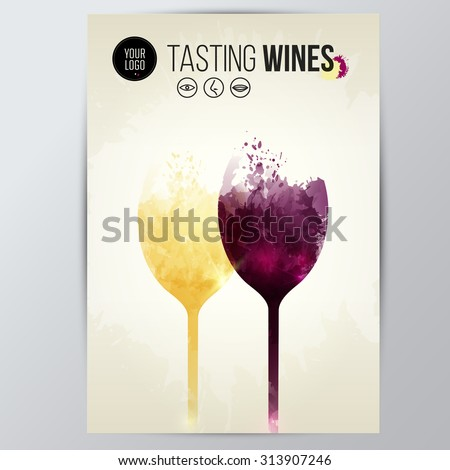Template with illustration of wine glasses. Colors and expressive design with wine stains. vector - stock vector