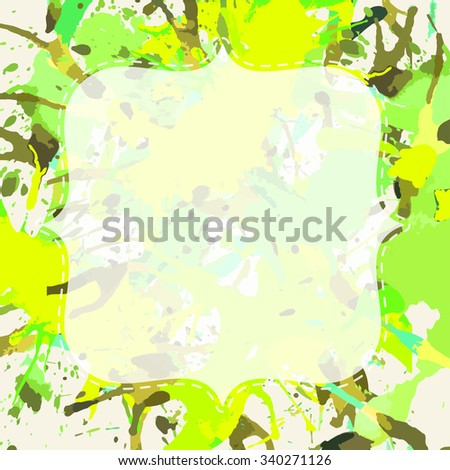 Template with semi-transparent white vintage frame over bright green colorful artistic paint splashes, ready for your text. - stock vector