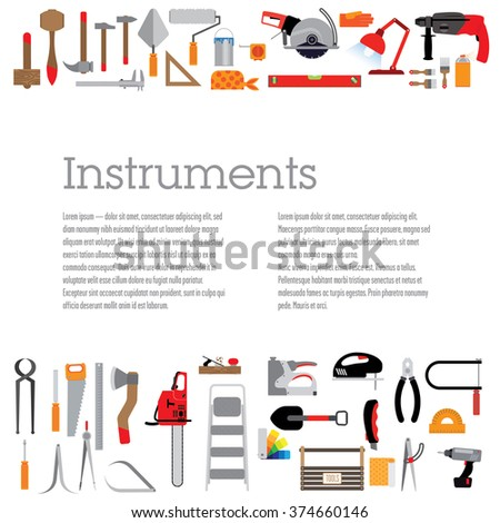 Template with tools. Decorated with various tools, with space for text and header. The colour version. - stock vector