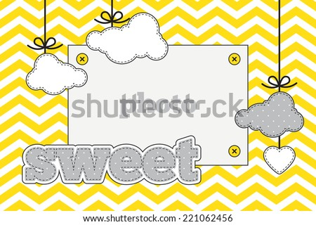 Template. Yellow, gray and white colors. Photo frame and decorative elements (clouds, heart) on a chevron background - stock vector